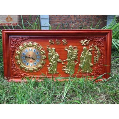 [Quà Tân Gia] Tranh đồng hồ treo tường mẫu Phúc Lộc Thọ bằng gỗ