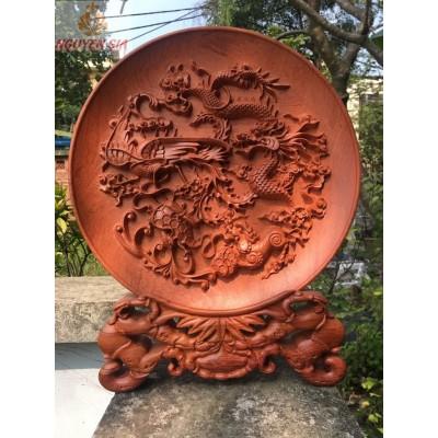 Đĩa gỗ mỹ nghệ phong thủy tứ linh